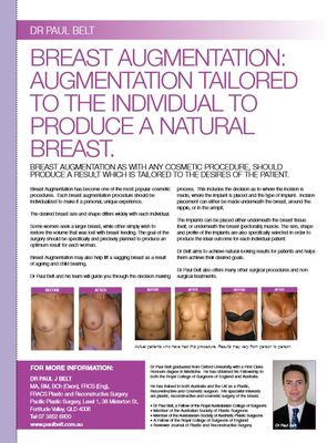 Breast augmentation tailored to the individual to produce a natural breast - Vogue February 2008